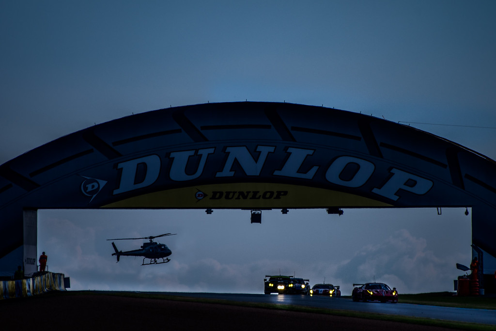 Helicopter and the GT Racing Group at Dusk