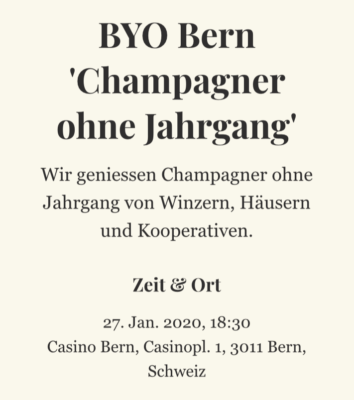 BYOB ab 2020 in Bern - 'Bring your own Bulles'